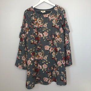 Entro Gray Floral Long Ruffle Sleeve Mini Dress